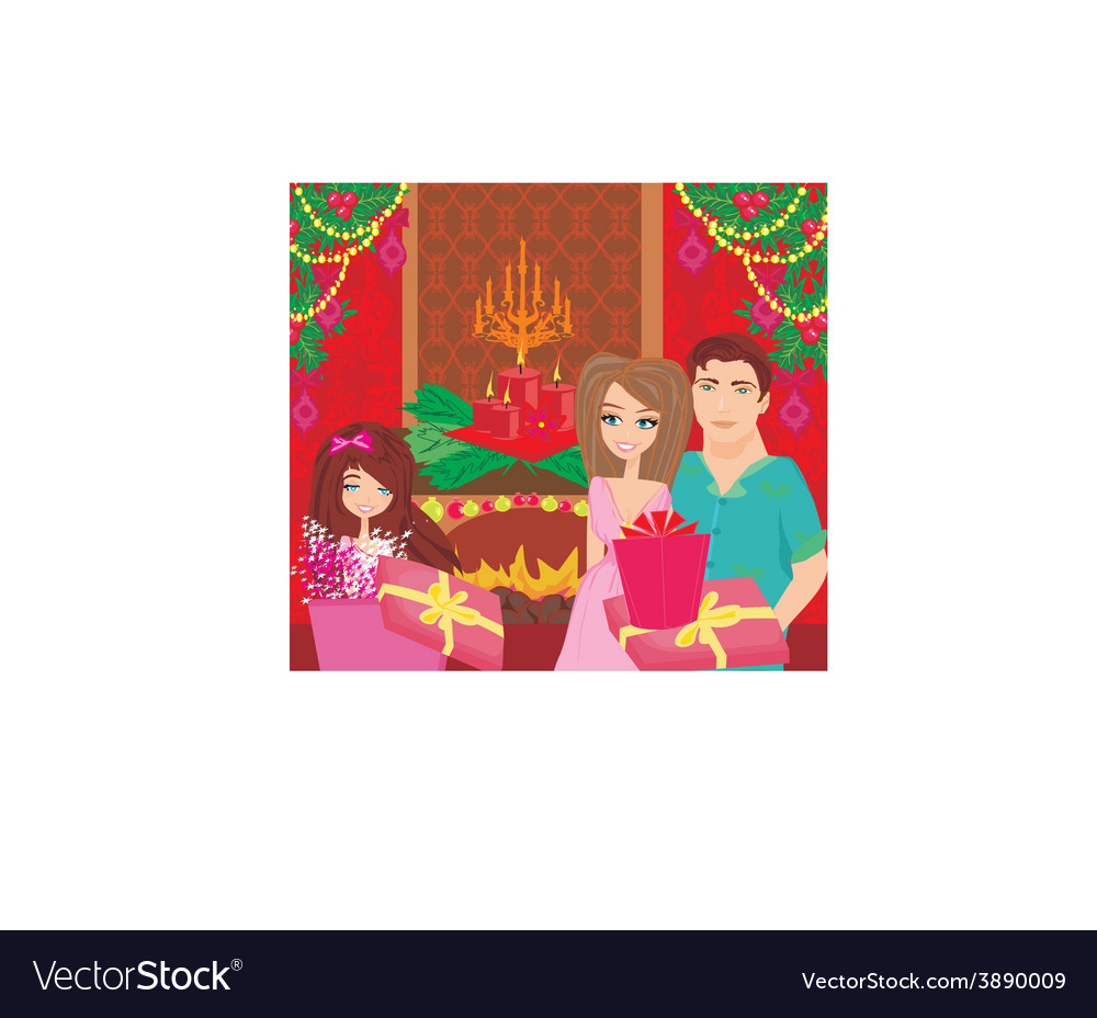 Family christmas at homehappy girl opens the gift vector | Price: 1 Credit (USD $1)