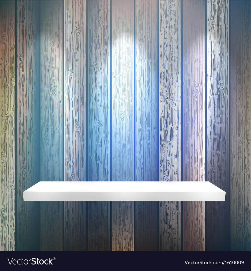 Isolated empty shelf for exhibit on wood  eps10 vector | Price: 1 Credit (USD $1)