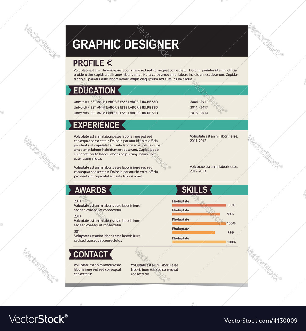 Resume template vector | Price: 1 Credit (USD $1)