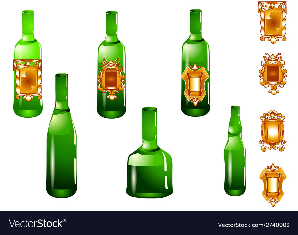 Set of bottle and label vector | Price: 1 Credit (USD $1)