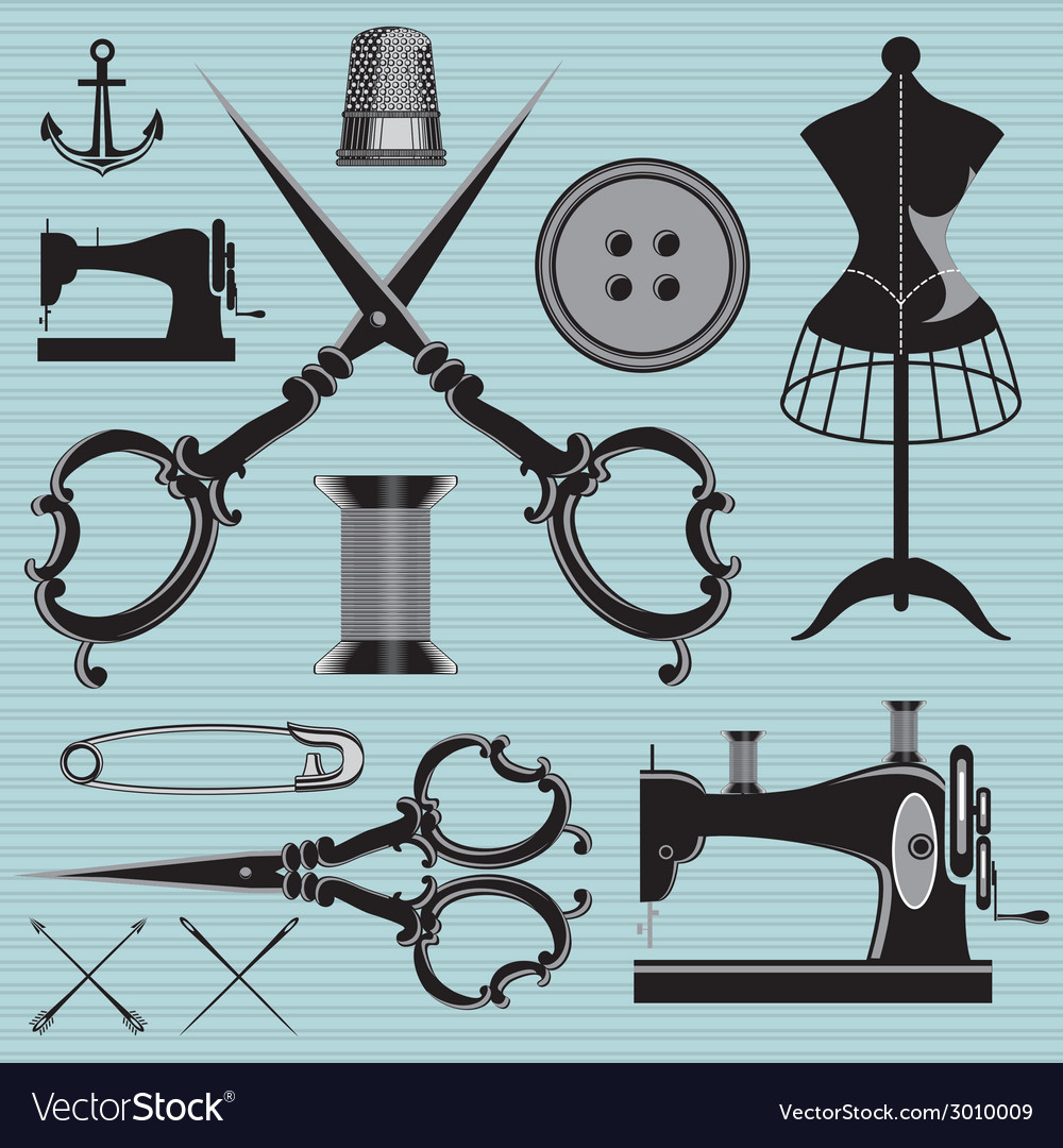 Set of items and equipment to topics tailor clothi vector | Price: 1 Credit (USD $1)