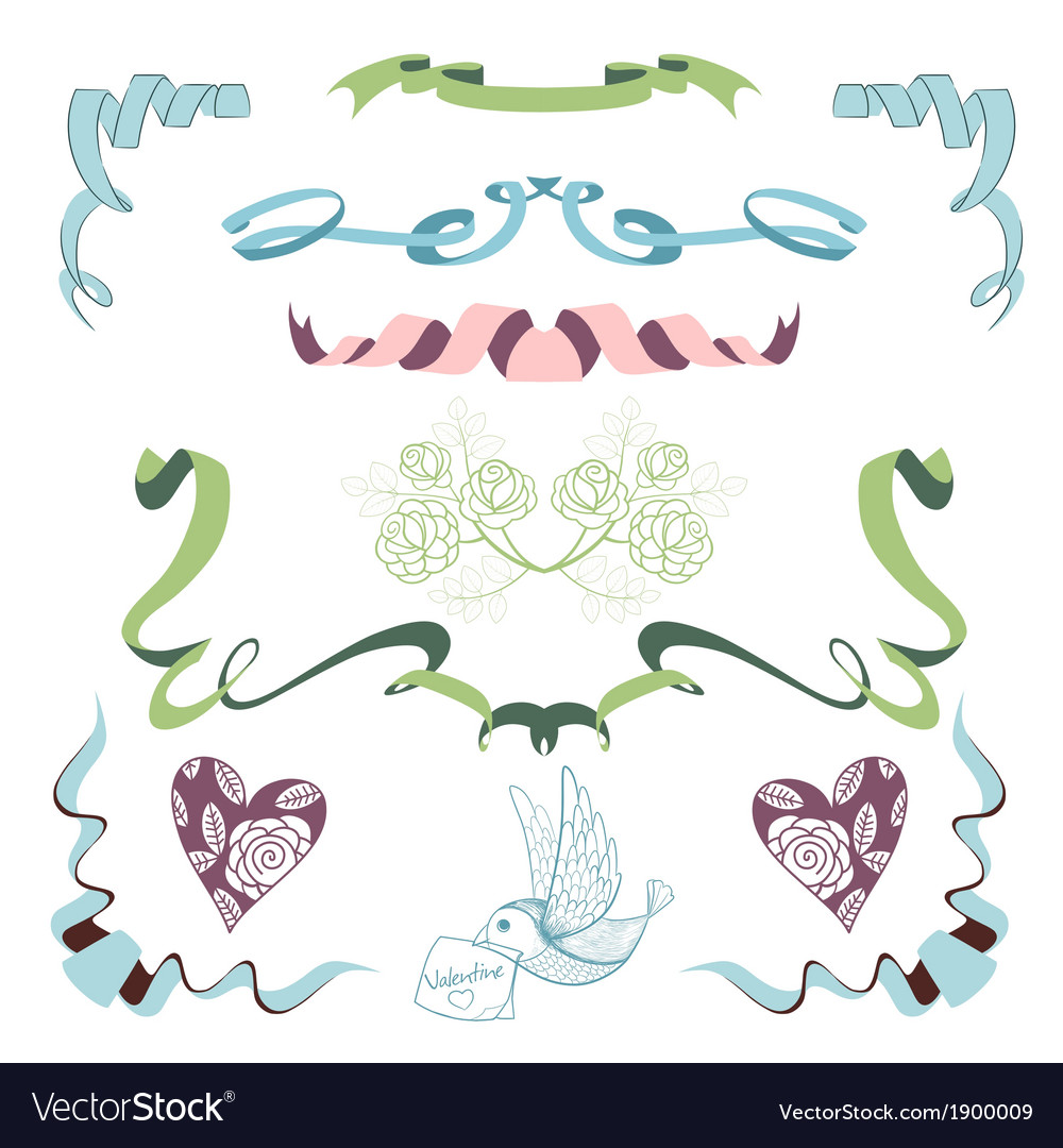 Set with ribbons flowers and bird vector | Price: 1 Credit (USD $1)