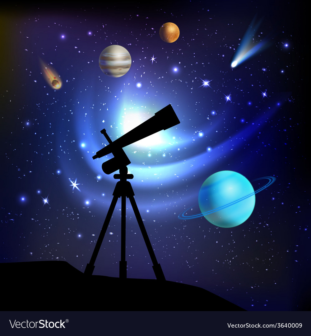 Space background with telescope vector | Price: 1 Credit (USD $1)