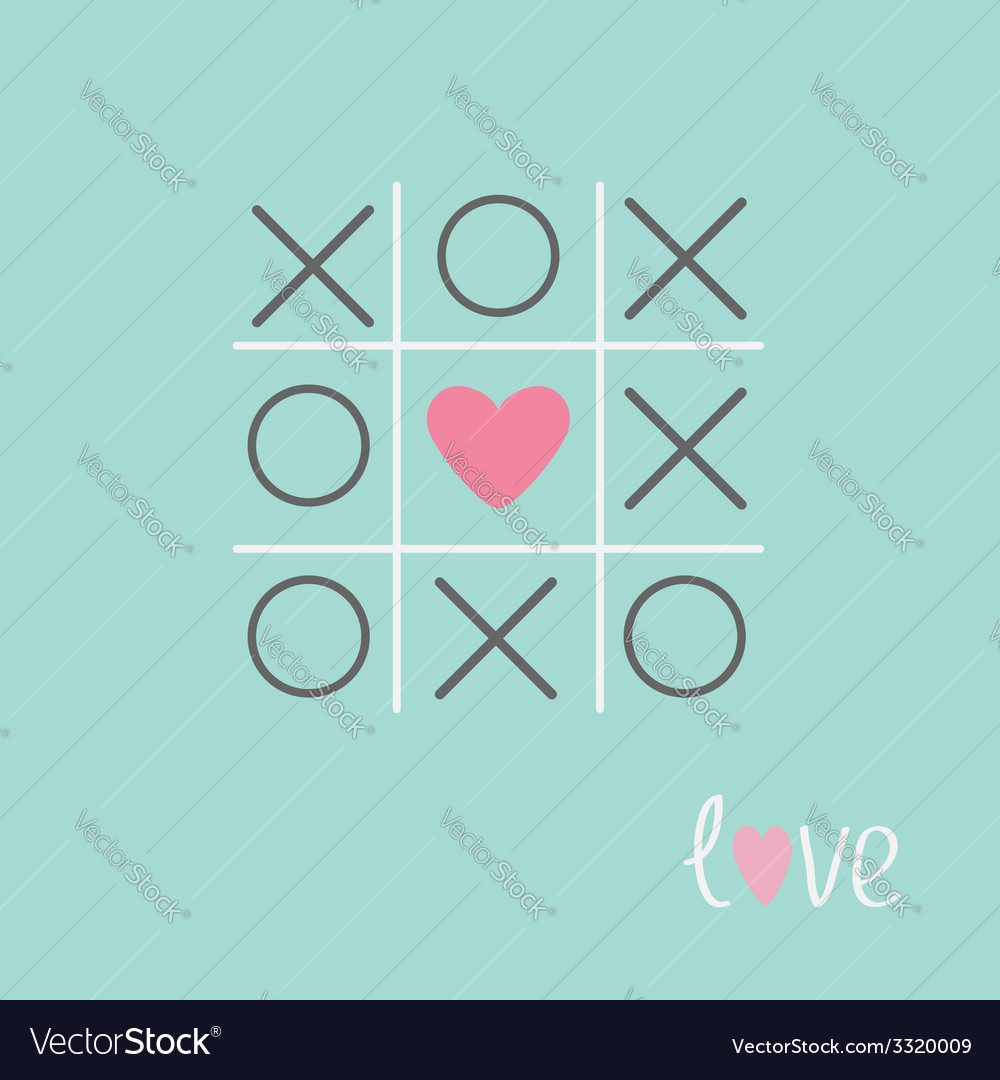 Tic tac toe game with cross and heart sign love vector | Price: 1 Credit (USD $1)
