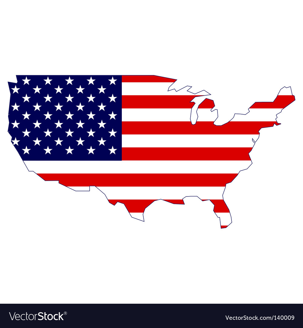United states map and flag vector | Price: 1 Credit (USD $1)