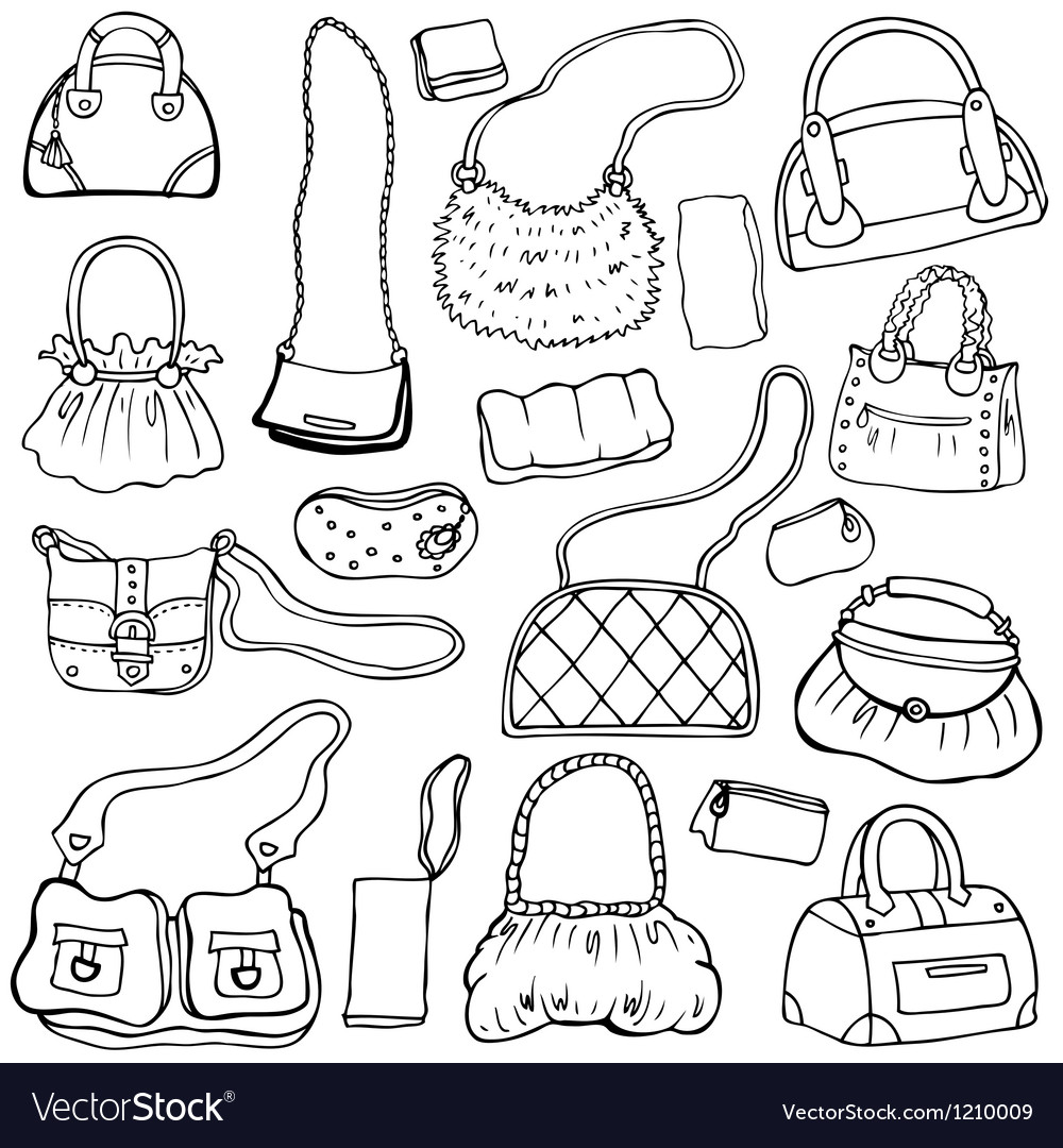 Womens handbags hand drawn set 1 vector | Price: 1 Credit (USD $1)