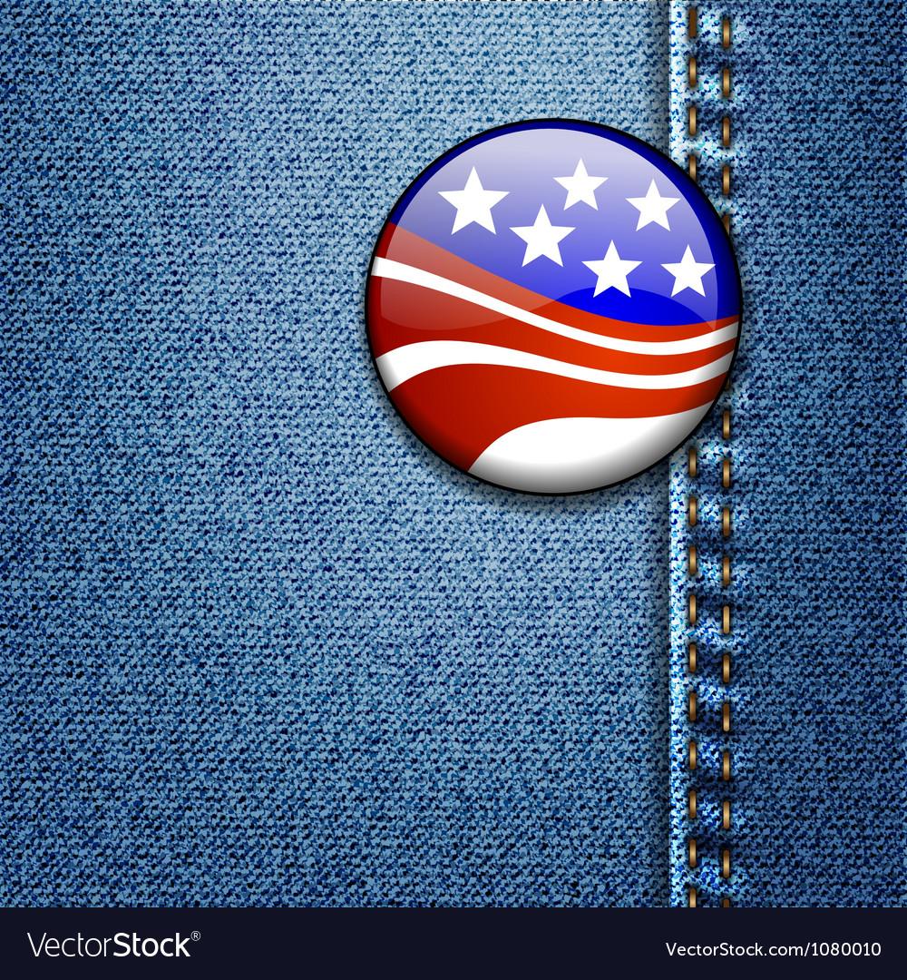 American usa flag badge on jeans denim vector | Price: 3 Credit (USD $3)