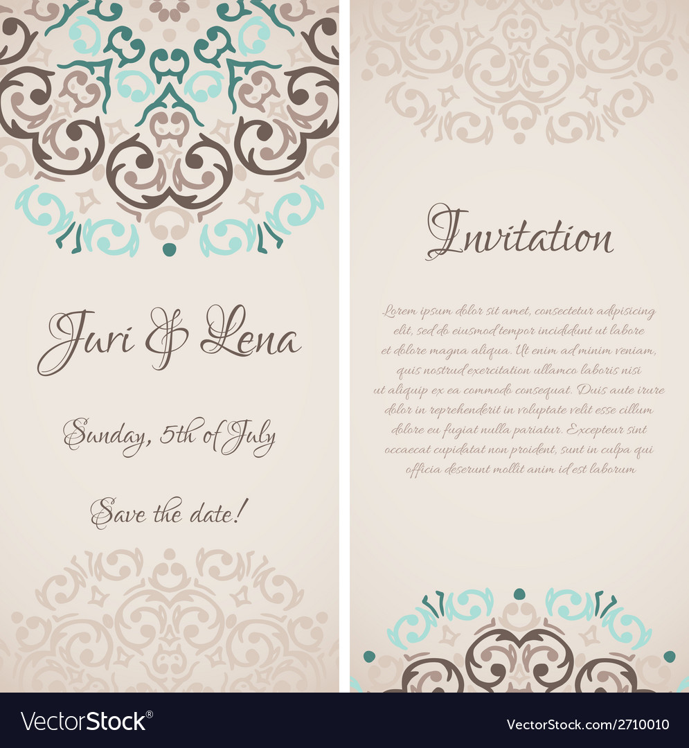 Baroque damask wedding invitation banners with a vector | Price: 1 Credit (USD $1)