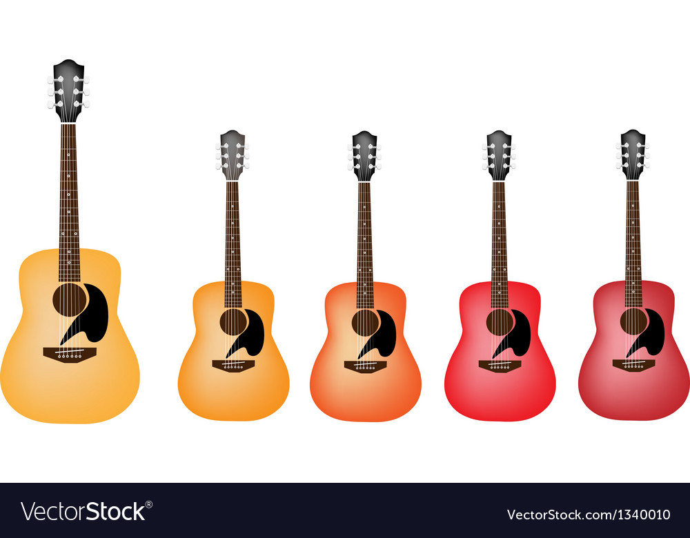 Beautiful red and orange colors of acoustic guitar vector | Price: 1 Credit (USD $1)