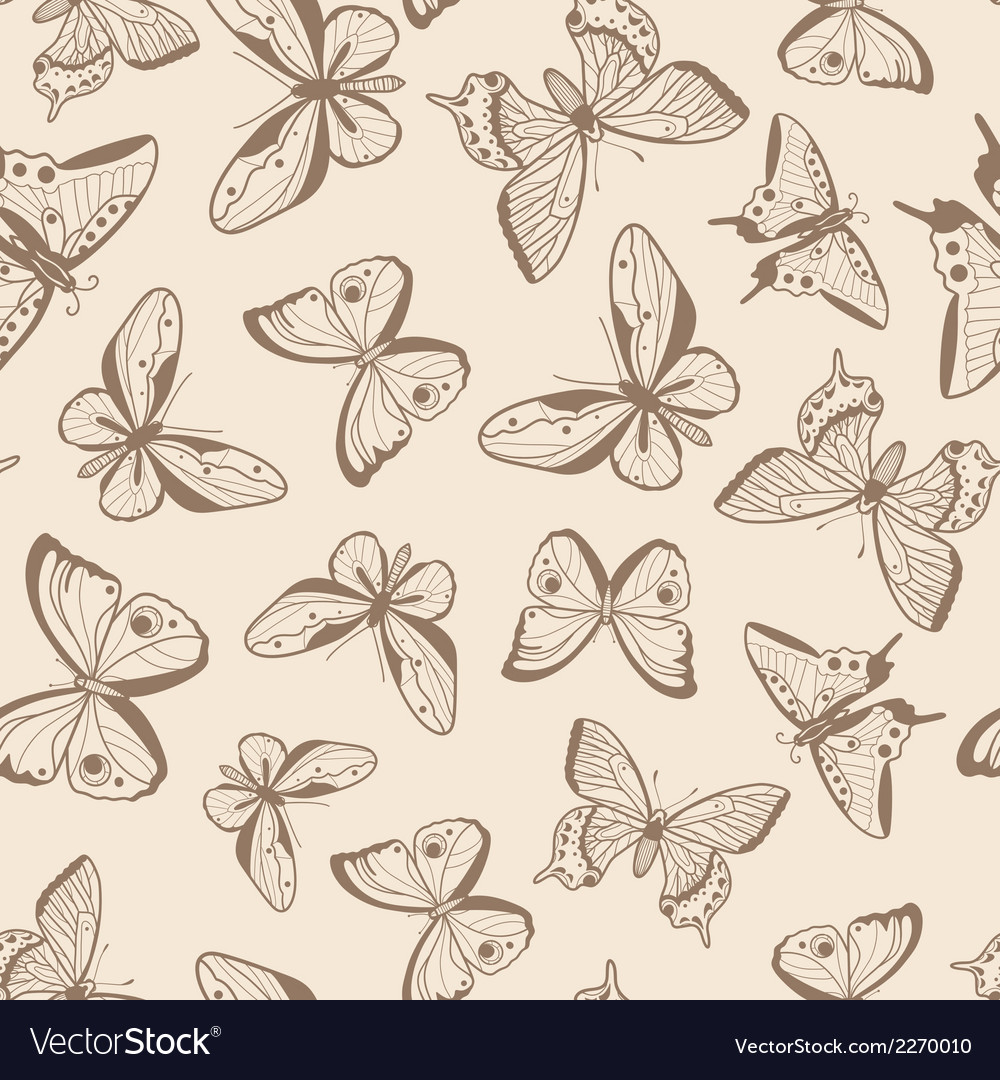 Butterflies seamless pattern vector | Price: 1 Credit (USD $1)