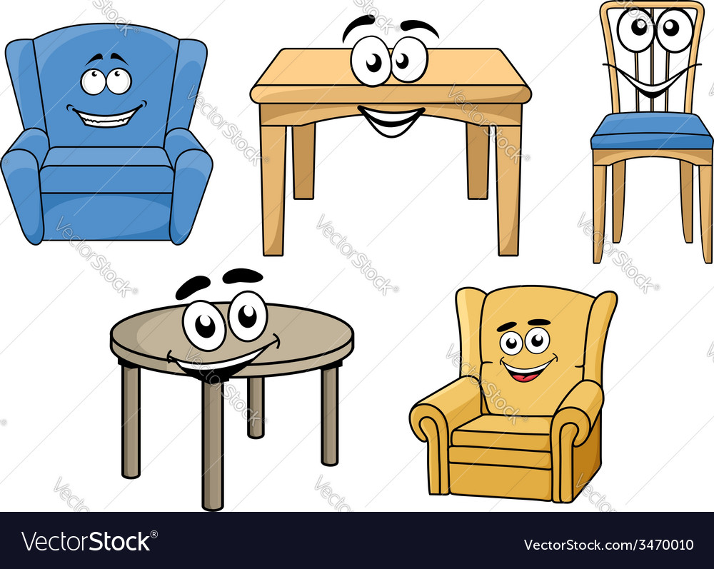 Cartooned furniture set with smiles vector | Price: 1 Credit (USD $1)