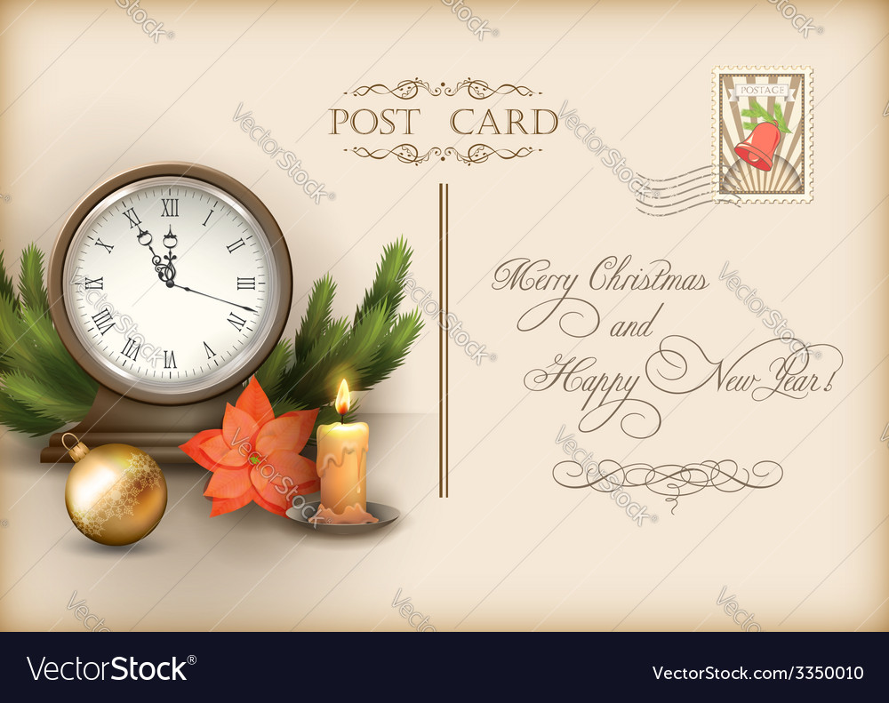 Christmas vintage holiday postcard vector | Price: 3 Credit (USD $3)