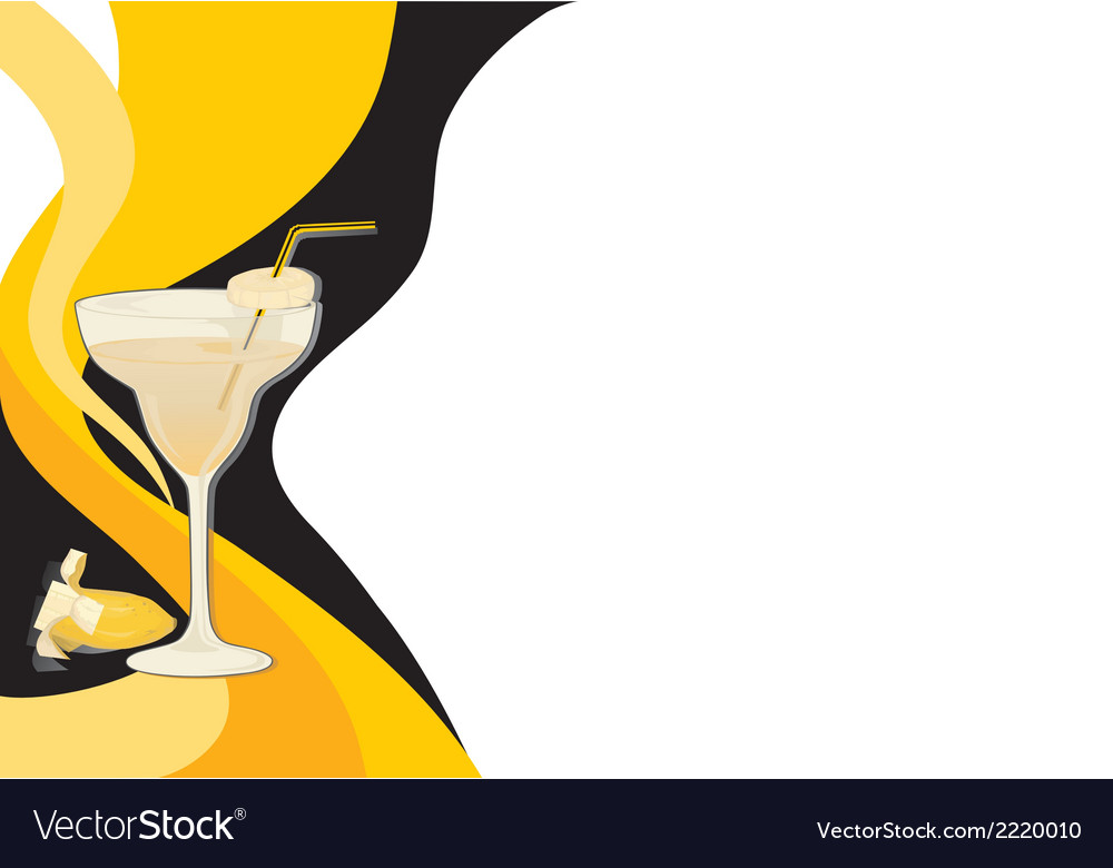 Cocktail black and yellow card vector | Price: 1 Credit (USD $1)