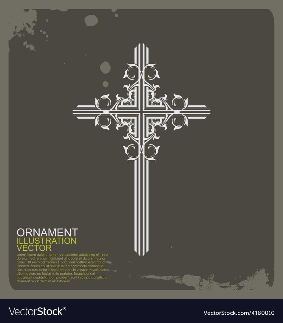 Cross christian vintage ornament vector | Price: 1 Credit (USD $1)