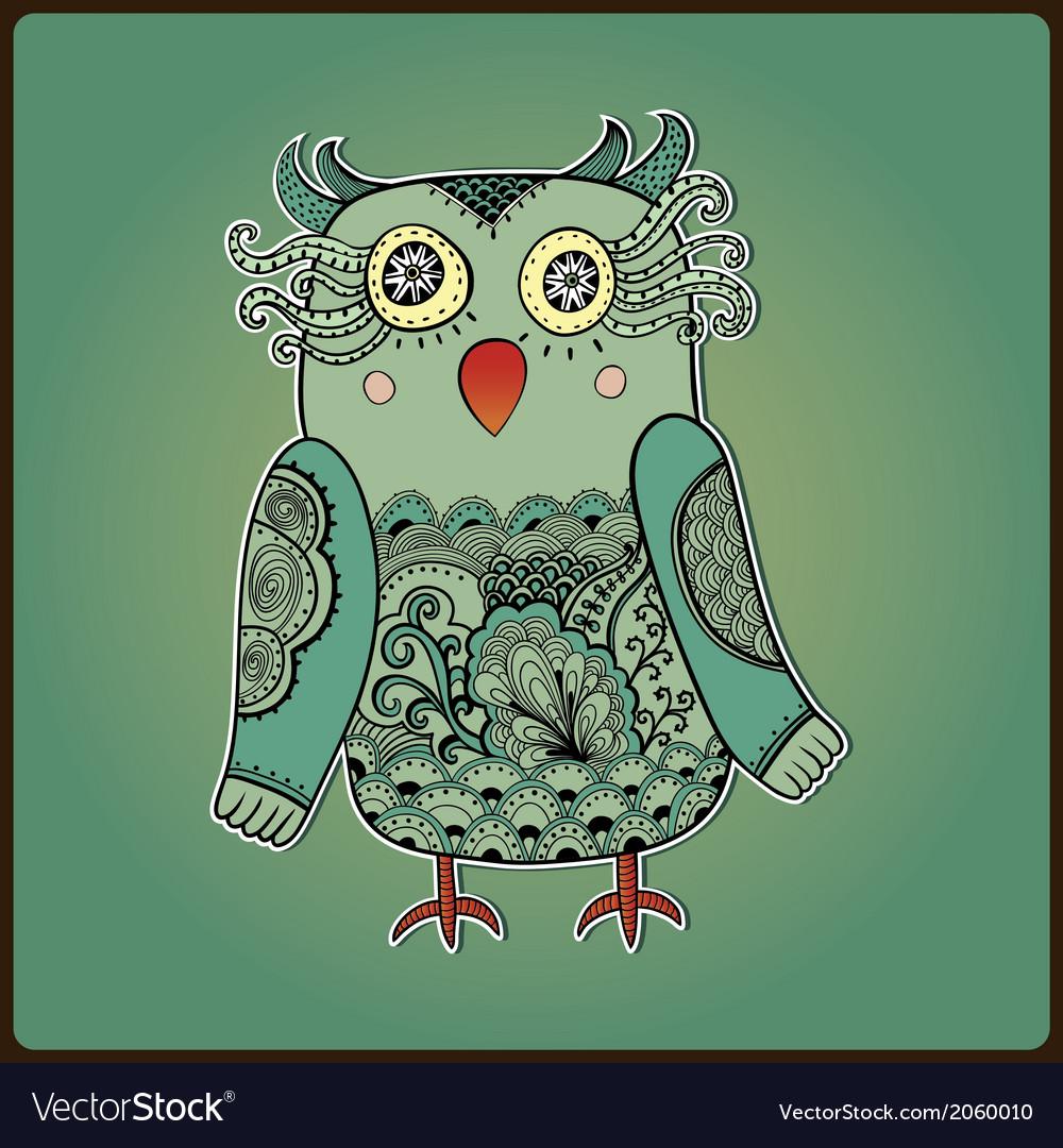 Cute decorative owl lacy bird vector | Price: 1 Credit (USD $1)