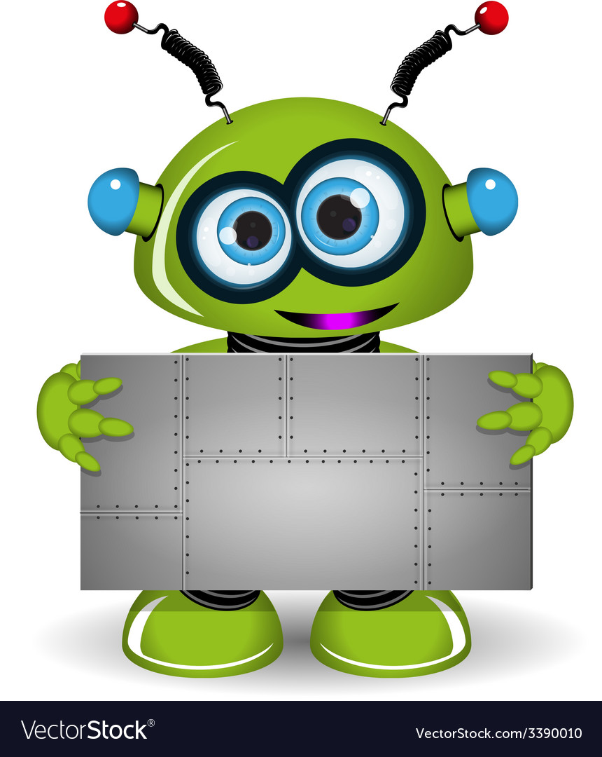 Green robot with a metal background vector | Price: 3 Credit (USD $3)