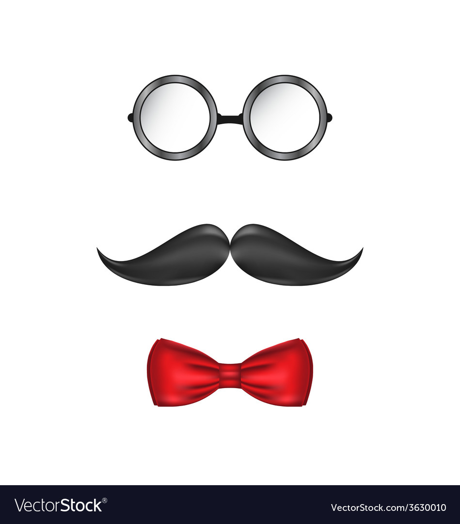 Hipster symbolic of a man face glasses mustache vector | Price: 1 Credit (USD $1)