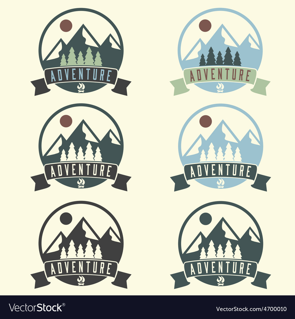 Set of adventure vintage labels vector | Price: 1 Credit (USD $1)
