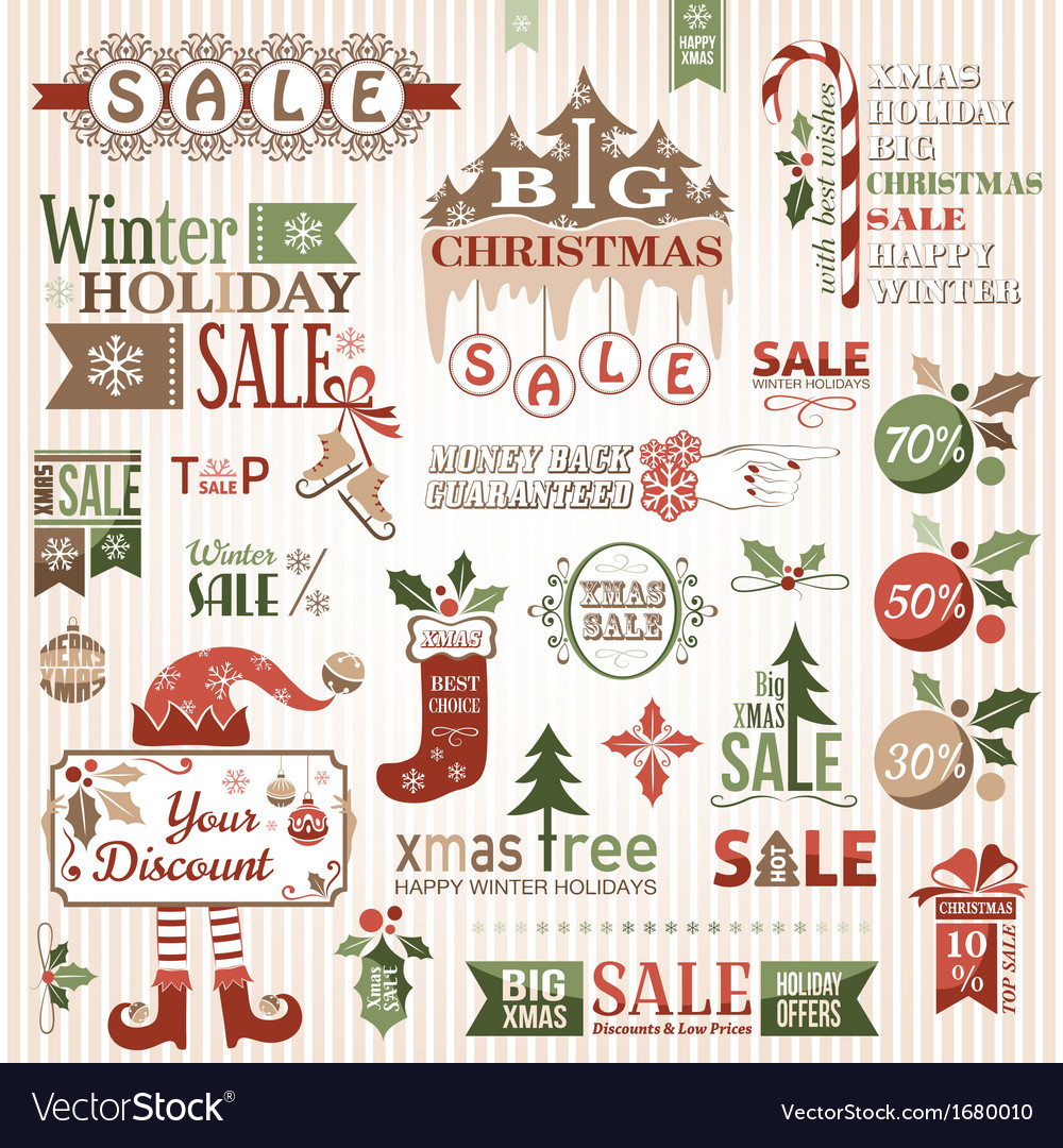 Set of christmas sale decorative elements vector | Price: 1 Credit (USD $1)