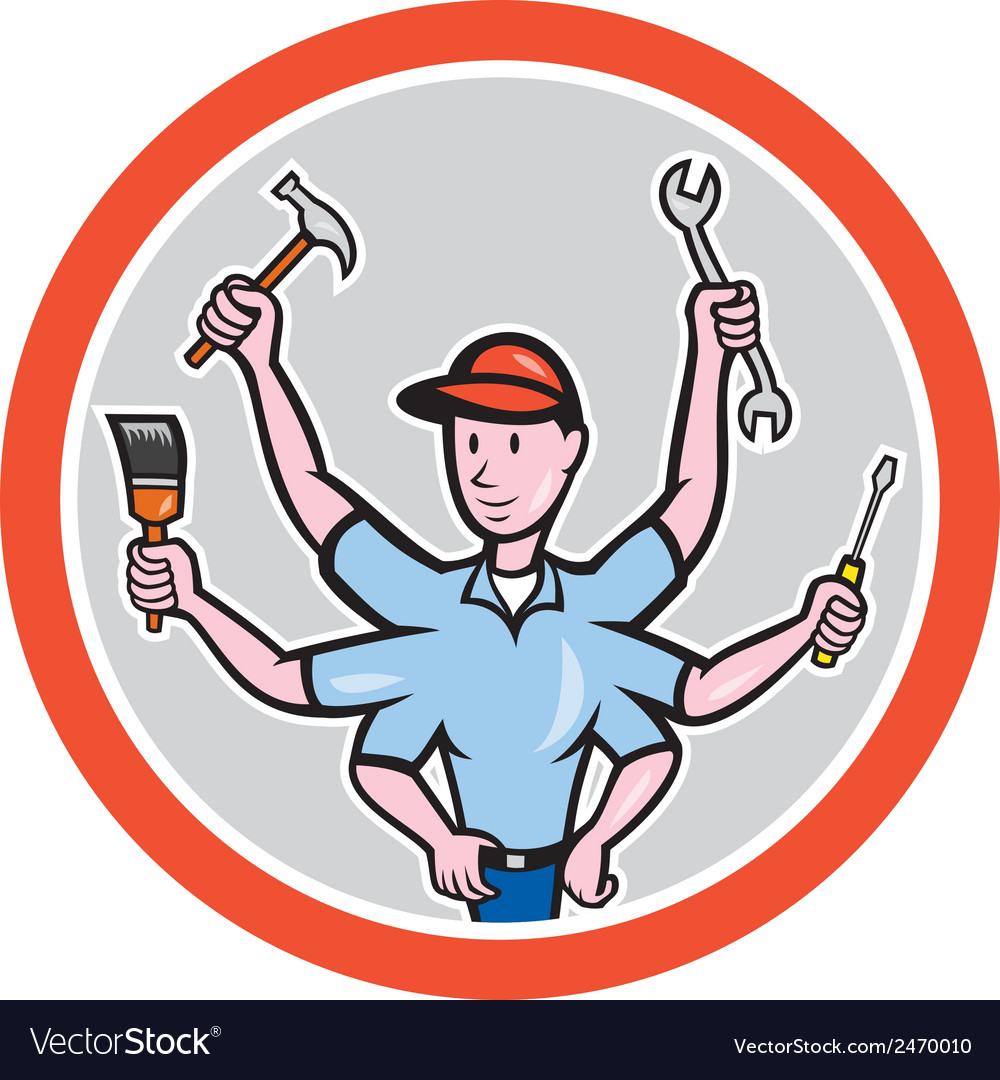 Tradesman worker six hand cartoon vector | Price: 1 Credit (USD $1)