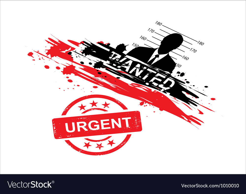 Wanted design with stamp urgent vector | Price: 1 Credit (USD $1)
