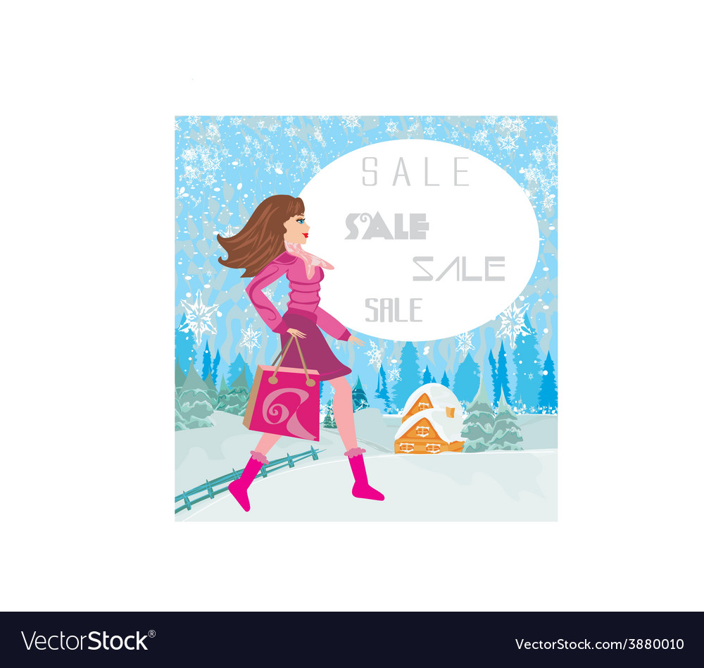Winter sale abstract card with a beautiful woman vector | Price: 1 Credit (USD $1)