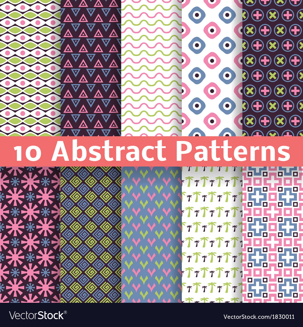 Abstract patterns set of seamless background vector   Price: 1 Credit (USD $1)