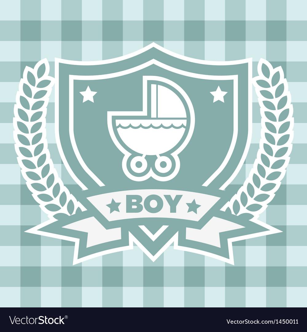 Blue baby stroller invitation vector | Price: 1 Credit (USD $1)