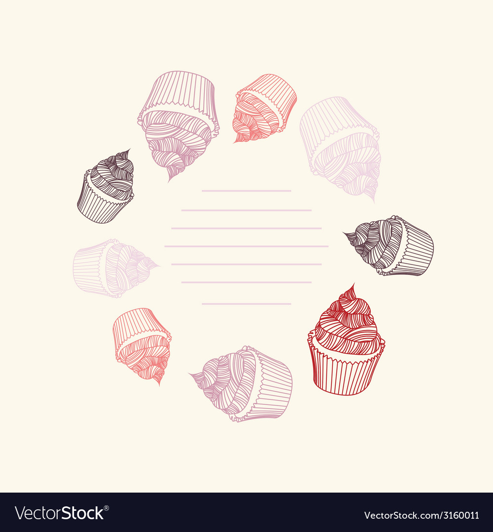 Circular pattern of cupcakes with chalks sketches vector | Price: 1 Credit (USD $1)
