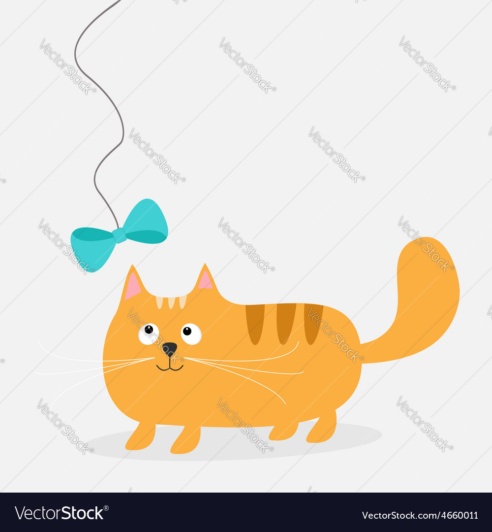 Cute cartoon fat red cat with bow card kids vector | Price: 1 Credit (USD $1)