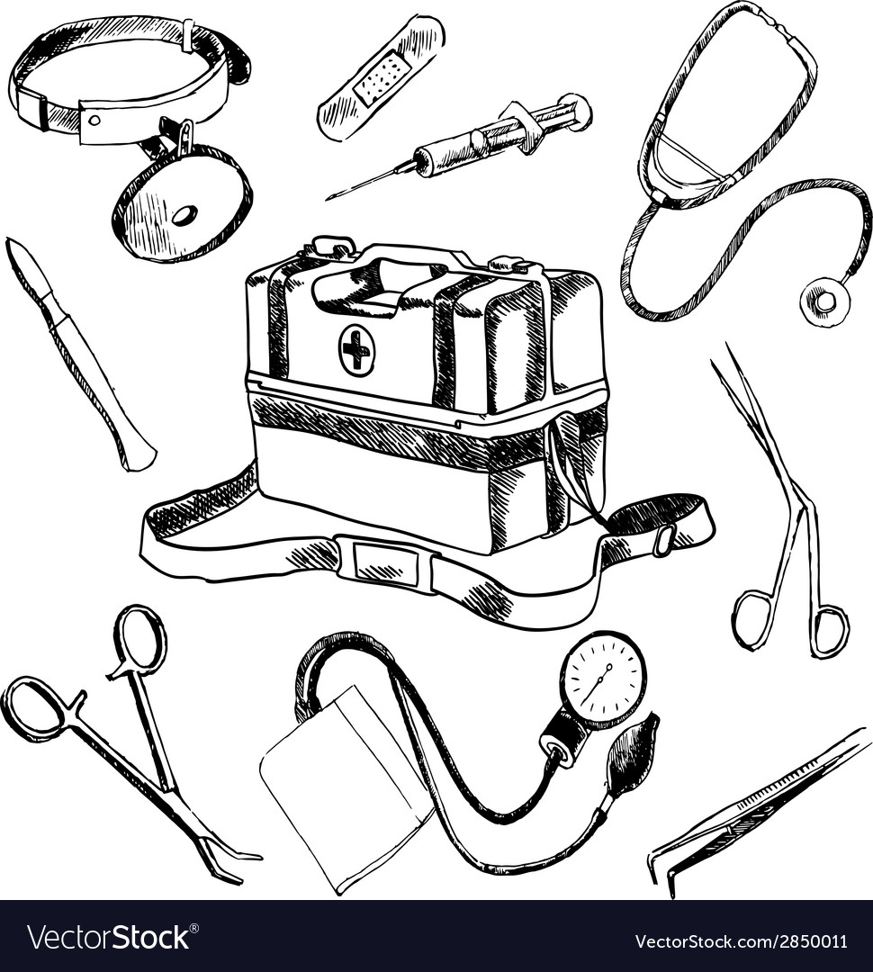 Doctor medical accessories sketch icons set vector | Price: 1 Credit (USD $1)