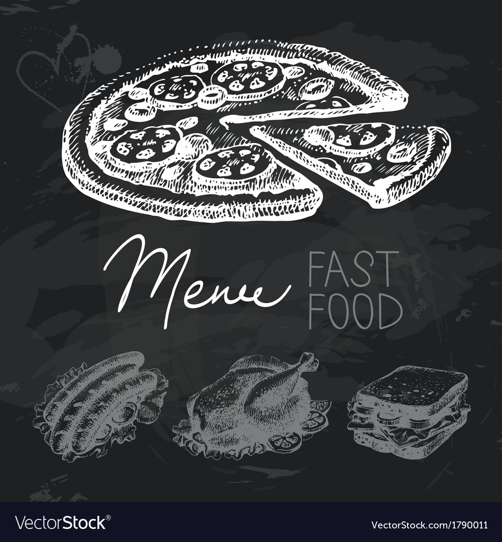 Fast food hand drawn chalkboard design set vector | Price: 1 Credit (USD $1)