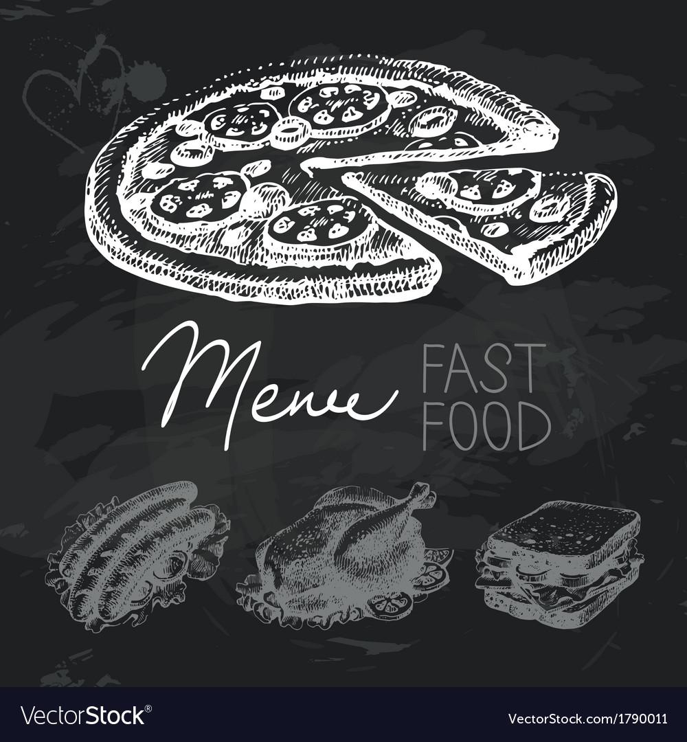 Fast food hand drawn chalkboard design set vector   Price: 1 Credit (USD $1)