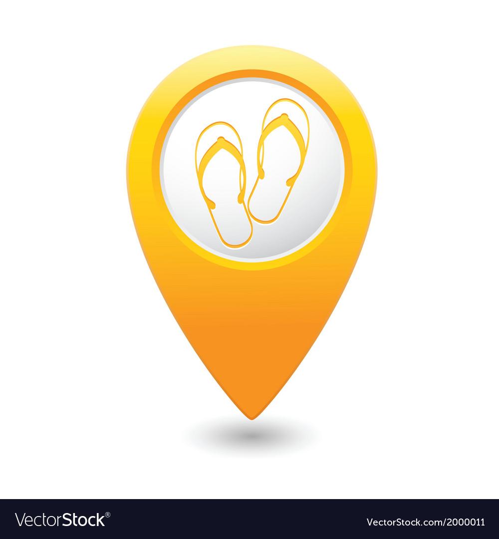 Flip flops symbol yellow map pointer vector | Price: 1 Credit (USD $1)