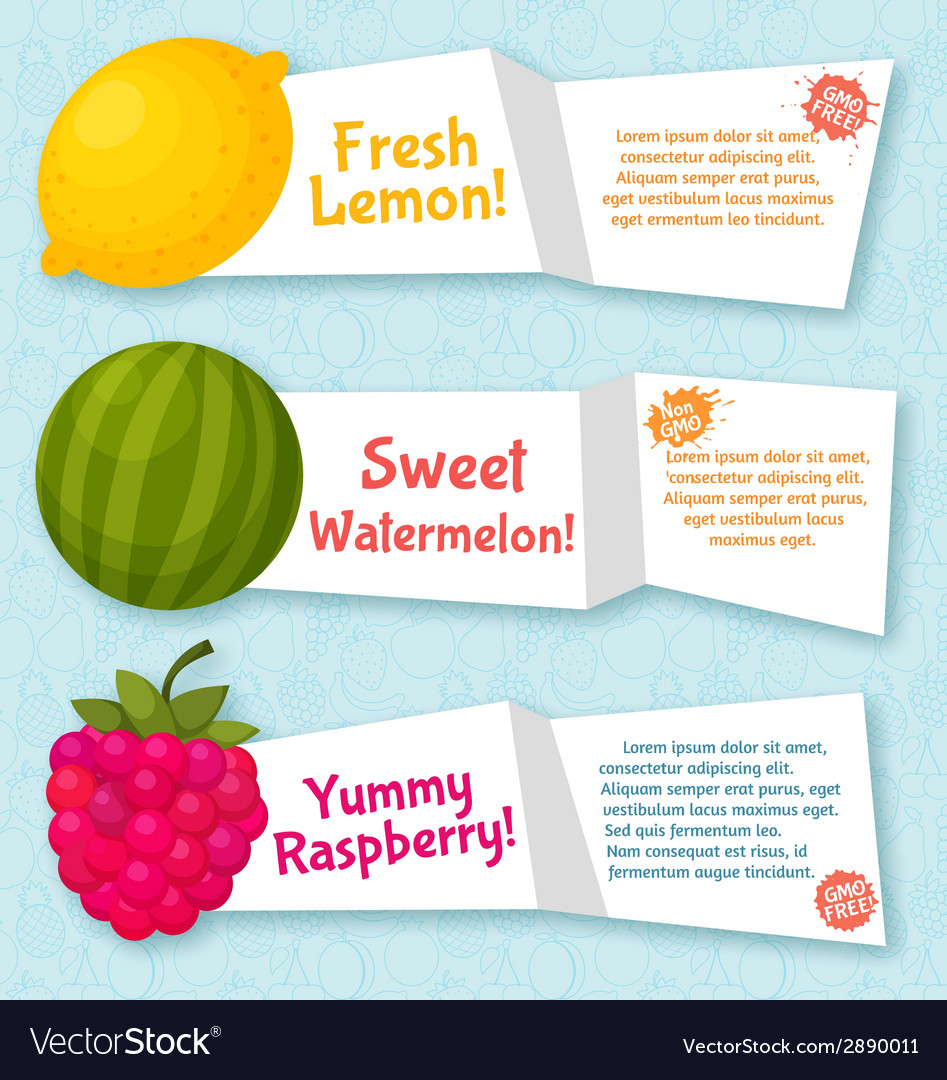 Fruits banners set colorful template for cooking vector | Price: 1 Credit (USD $1)