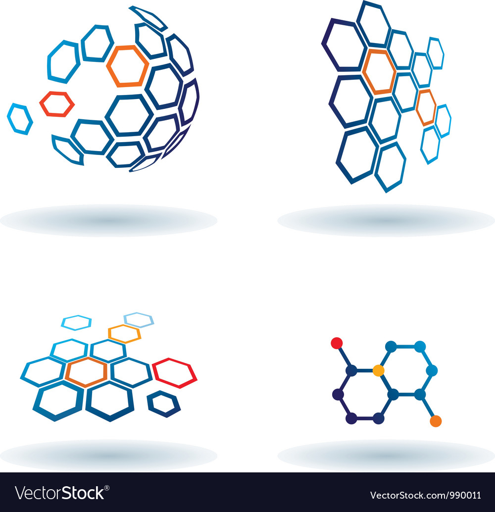Hexagonal abstract icons business and communicatio vector | Price: 1 Credit (USD $1)