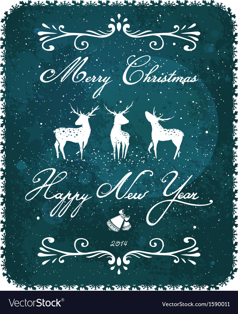 Merry christmas and new year vintage deer greeting vector | Price: 1 Credit (USD $1)