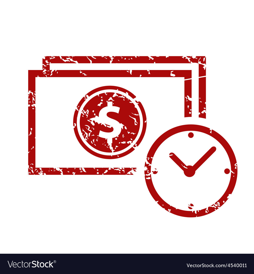 Red grunge buck time logo vector | Price: 1 Credit (USD $1)