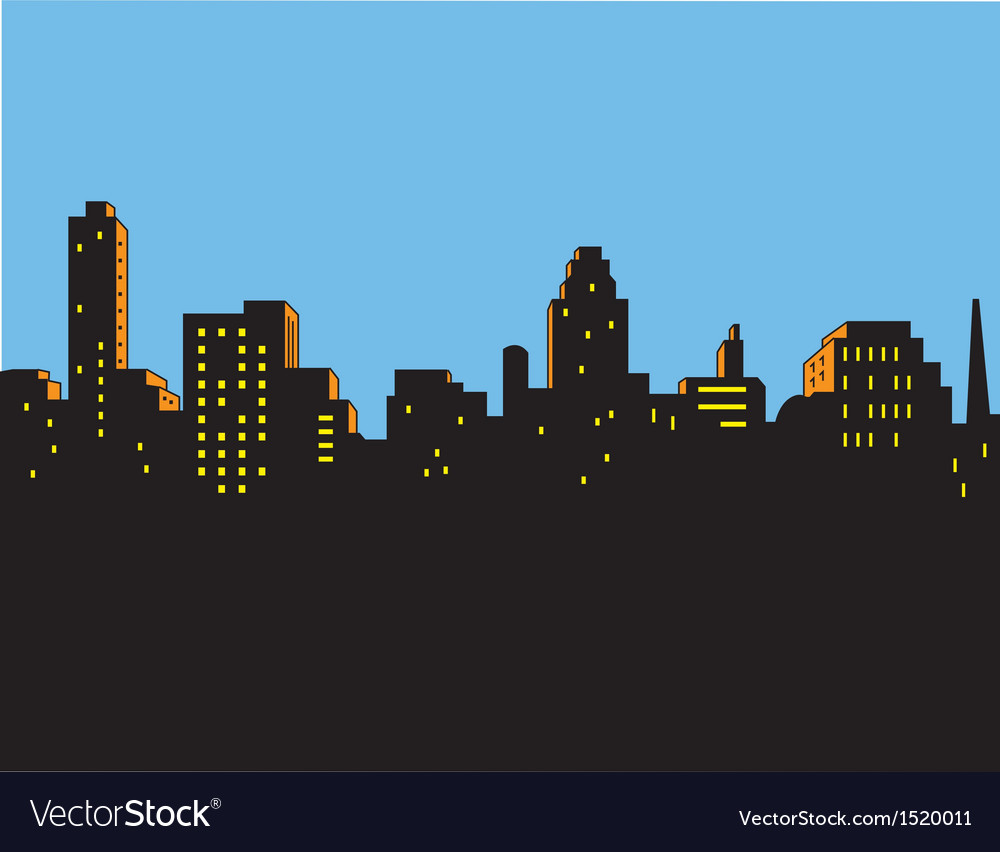 Retro classic city skyline vector | Price: 1 Credit (USD $1)