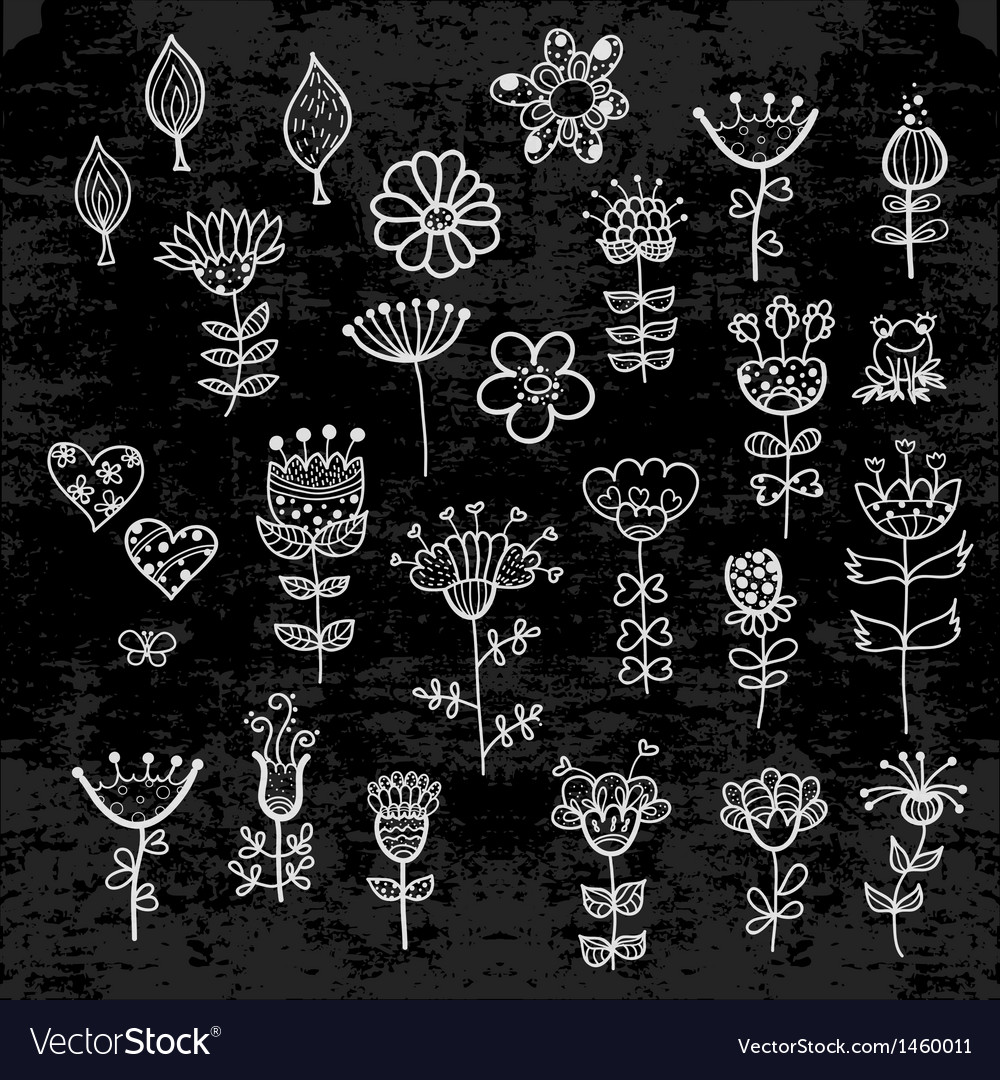 Set of the flower elements drawn with chalk vector | Price: 1 Credit (USD $1)