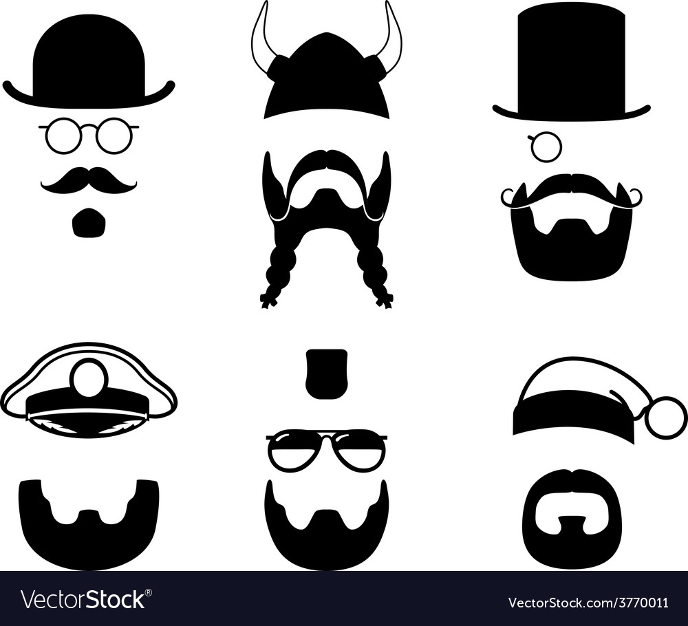 Silhouettes parts of face mustache beard hair vector | Price: 1 Credit (USD $1)