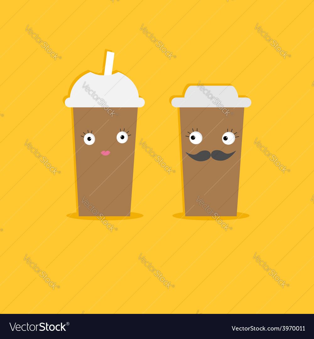 Two disposable coffee paper cups with eyes vector | Price: 1 Credit (USD $1)