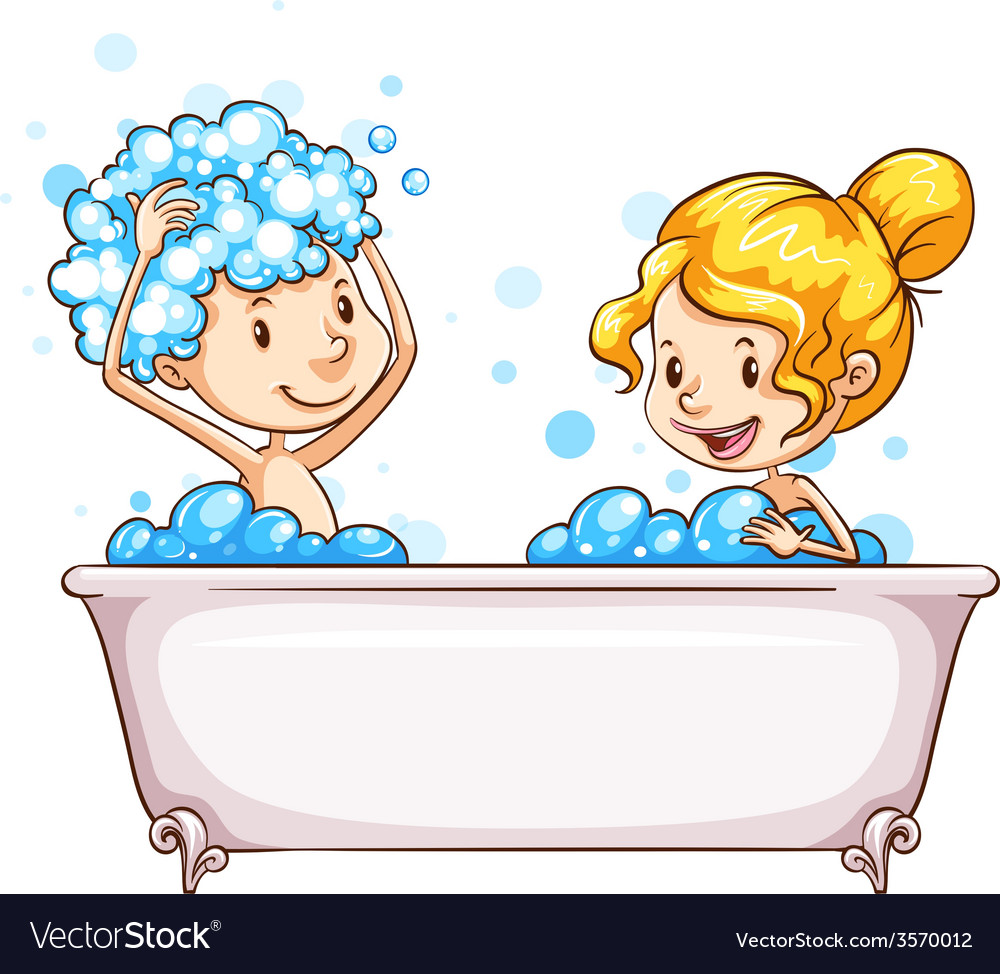 A girl and a boy at the bathtub vector | Price: 1 Credit (USD $1)