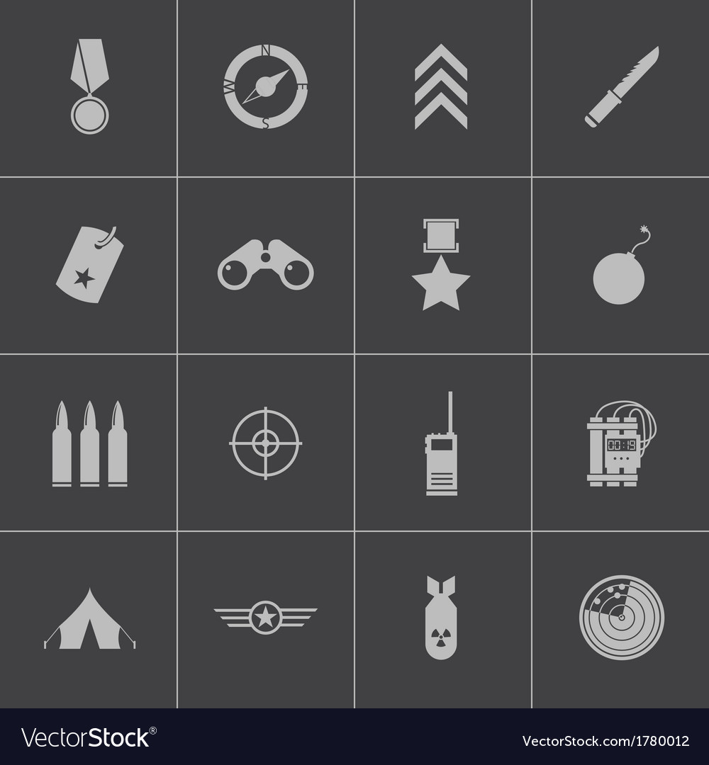 Black military icons set vector | Price: 1 Credit (USD $1)