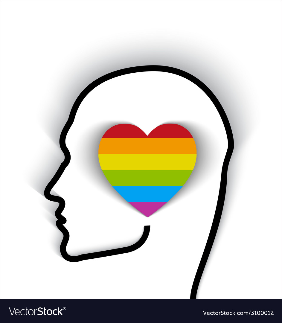 Head contour with heart gay flag color vector | Price: 1 Credit (USD $1)