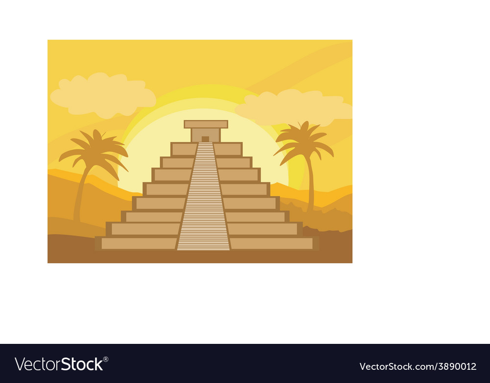 Maya pyramid chichen-itza mexico - vector | Price: 1 Credit (USD $1)