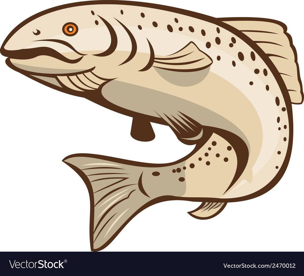 Rainbow trout jumping cartoon vector | Price: 1 Credit (USD $1)