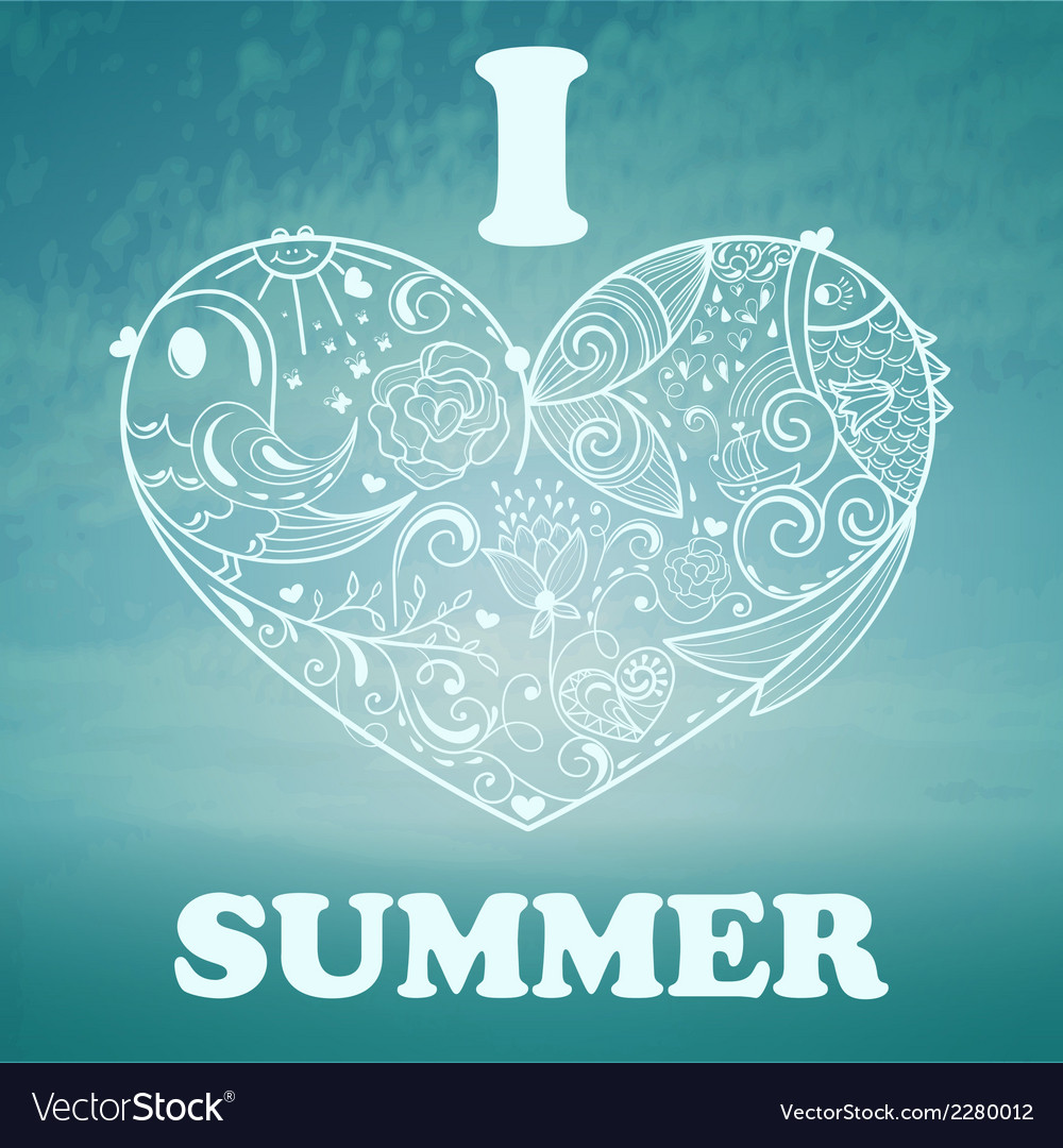 Summer background with blue sky and sea vector | Price: 1 Credit (USD $1)