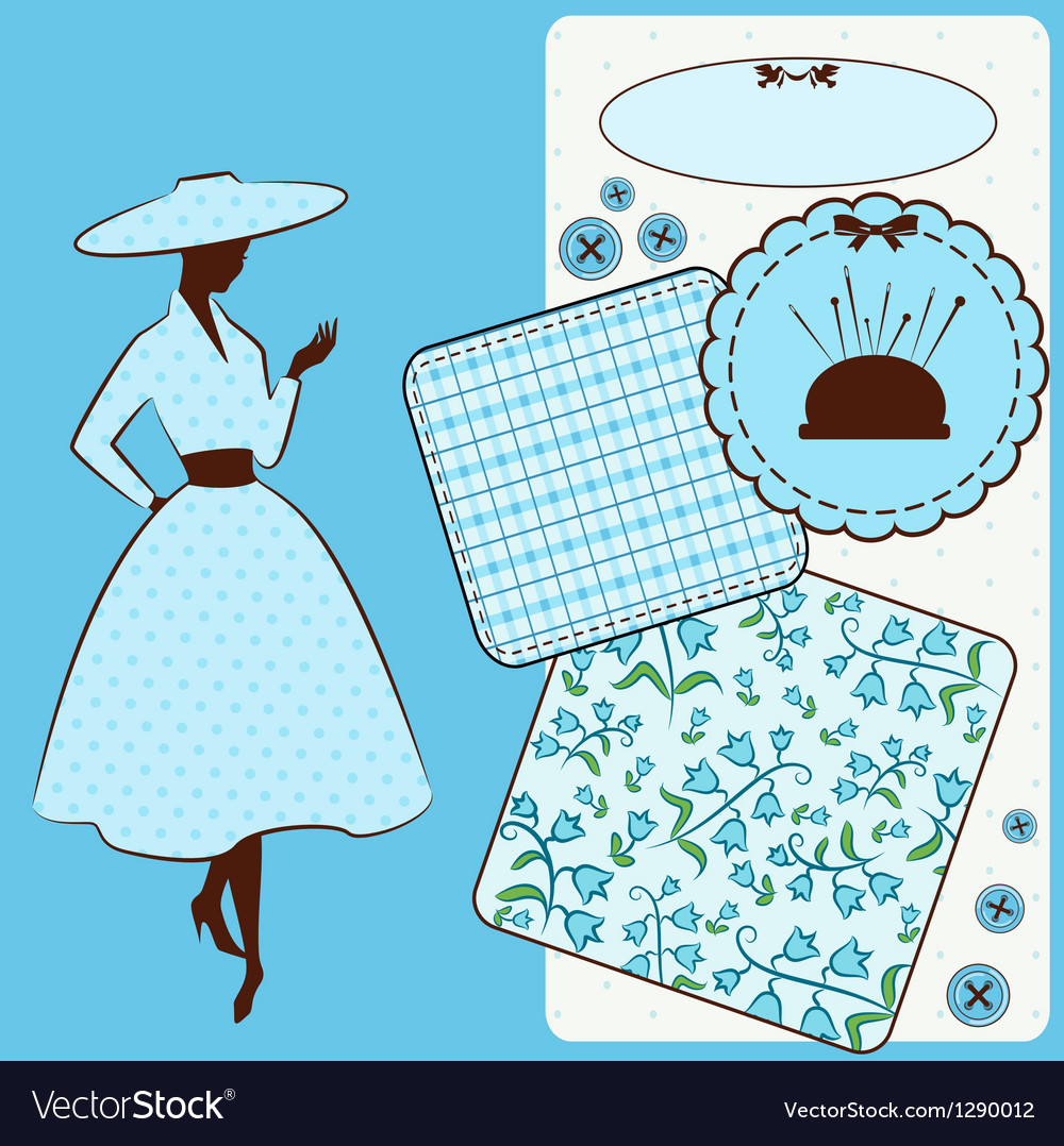 Vintage sewing element s with woman vector   Price: 1 Credit (USD $1)