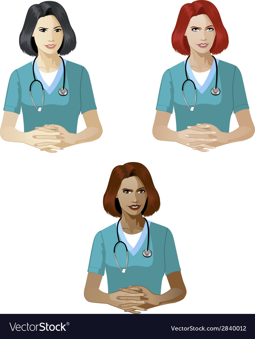 Woman in medic uniform support expert vector | Price: 1 Credit (USD $1)